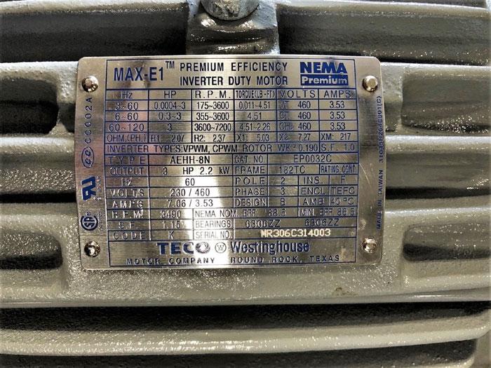 TECO Westinghouse 3 HP MAX-E1 Premium Eff. Inverter Duty Motor AEHH-8N, EP0032C