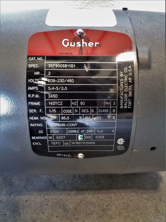 Gusher Vertical Coolant Pump EC-11019NS-SE-B-6 with 2HP Motor