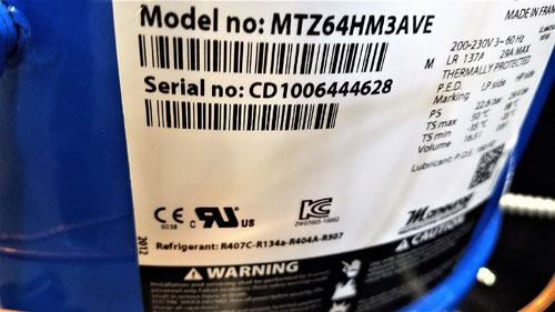 Danfoss Optyma Condensing Unit HGZC0500UWE300Q 114N6336 w/Compressor MTZ64HM3AVE