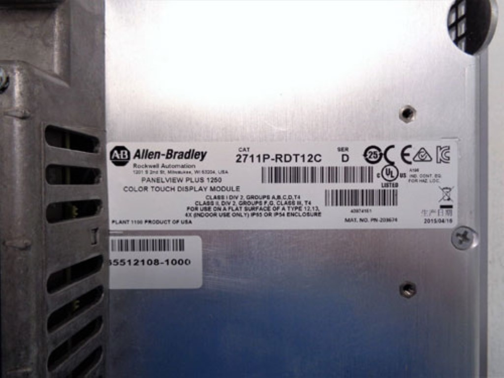 Allen Bradley 1250 Panelview Plus Display 2711P-T12C4D8 w/Logic Module 2711PRP8D