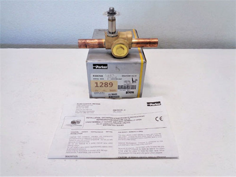 Lot of (2) Parker 2-Way Refrigeration Solenoid Valve R30E155