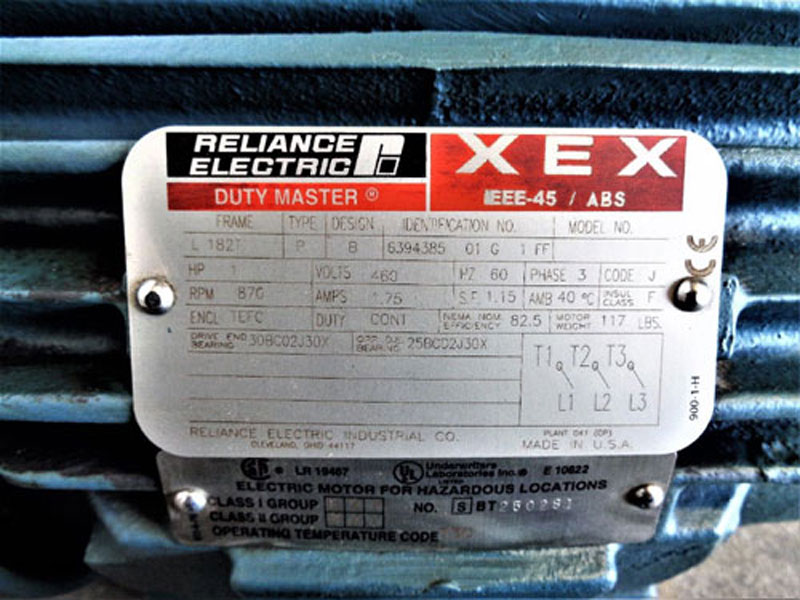 Reliance Electric Duty Master 1HP Motor XEX IEEE-45 / ABS #6394385 01 G 1 FF